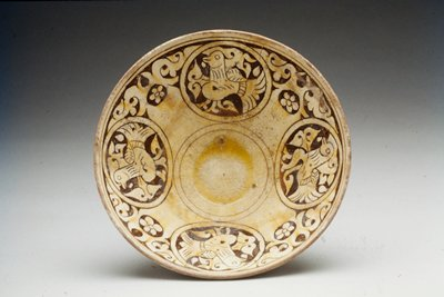 Bowl, Champleve Cream-colored Glazed Ware