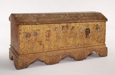 Cassone or Wedding chest, decorated with sculptural relief depicting the Four Cardinal Virtues flanked by candelabra with armorial bearings; scene of the Rape of Prosperine fighting centaurs and a centaur carrying a woman