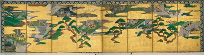 nine separate scenes from the Tale of Genji arranged between golden clouds and gnarled pine trees; many scenes take place indoors between couples and women, with a few out of doors scenes