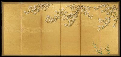 cherry blossom branches descending from top edge against gold background; elevated gold motifs in background; thin wispy grasses and blossoming flowers lower R