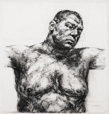 layers of torn and pasted paper create slightly three-dimensional surface; image of upper torso and head of a shirtless man with very short hair, with arms outstretched and outside picture plane, with head tilted slightly downward toward PL shoulder