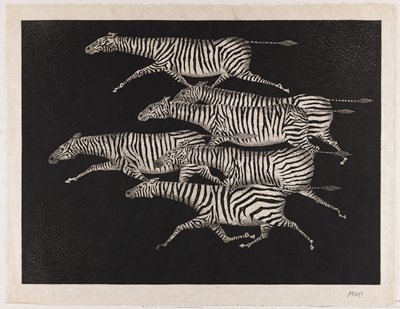 black and white print of six zebras running together in a herd; background is mostly black with tiny white gradations in URC, ULC and LLC