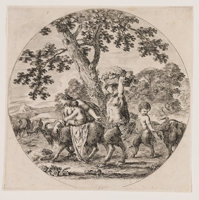 round image; family of satyrs with father with panpipes at his PL hip carrying a basket of grapes on his head followed by little boy feeding leaves to a goat; bare-breasted mother guiding a goat on which a smaller child is riding at front of the group at left; two other goats are left; large tree behind figures at center