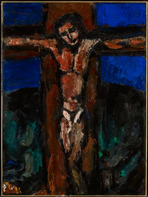 Crucifixion of Christ. Expressionism. Religious.