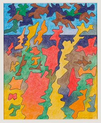 "abstract image; irregular, primarily vertical floating forms in various colors (primarily oranges and yellow at bottom, brown and purple at top) on top of multicolored ground with high horizon line and blue ""sky"""