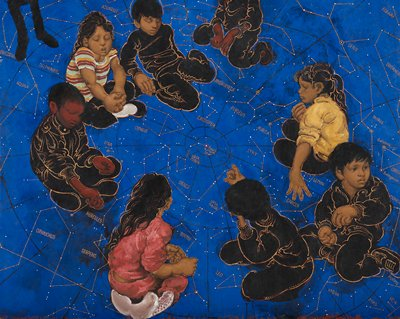 children kneeling in a loose circle against a cobalt blue background with constellation patterns