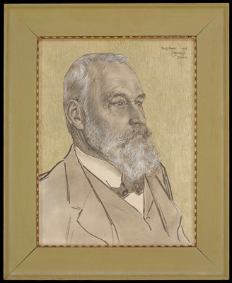 portrait of a man looking toward right; man has a white beard and hair and dark moustache; man wears a suit jacket, vest, shirt and tie; green ground; green frame with inner gilt molding