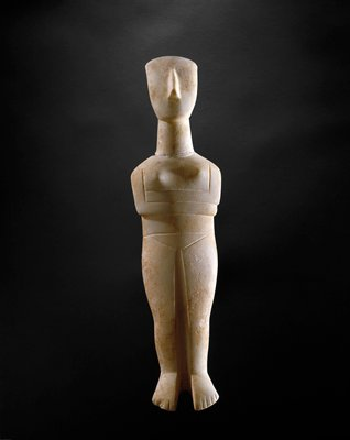 """may represent the nature goddess or """"Great Mother"""" of early man.; simple, schematic standing figure with crossed arms"""