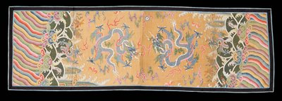 Panel of painted, gold thread gauze. The two sections seamed unevenly in the middle apparently from the panels of the robe. Design of four-clawed dragons, bats, clouds and heavenly jewel with Eternal Sea at bottom. Shades of blue, green, rose, yellow, mulberry, violet, orange, and light magenta. Note treatment of the waves, and cf. with kang hsi robes. Border of deep blue cotton bound with light blue brocaded silk. Lining of pale peach cotton.