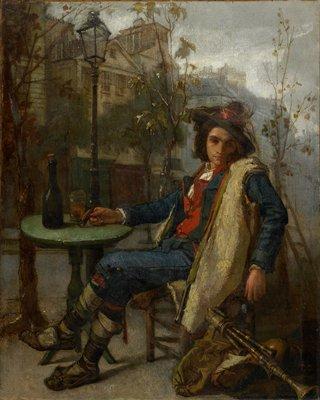 Young Italian street musician wth a fife