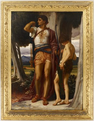Old Testament. After the prophet Samuel anointed David as King Saul's successor, Saul became jealous and plotted David's death. David's loyal friend Jonathan (Saul's son) is preparing to shoot three arrows as a warning to David who is hiding in a field. Jonathan's pose is directly derived from Michelangelo's 'David'.