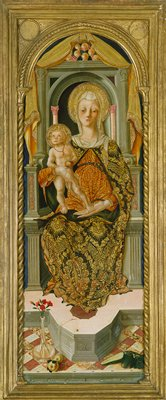 Arched top. The Madonna, in a gold and blue mantle over a red and gold brocade robe, seated on a throne in Renaissance style holding the infant Christ who stands on her knee, an apple in his hand; at the foot of the throne, pinks in a vase, apples, and marrows.