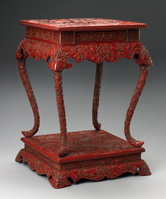 Table With Drawer, Curved Legs Attached To Base, Design Of Landscape On Top  And