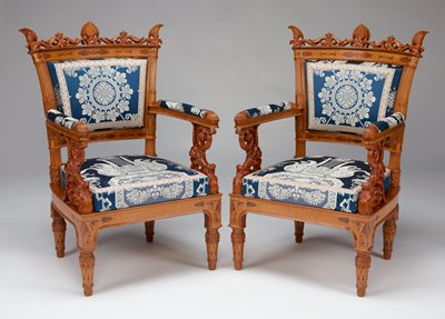 Arm Chair, Palagio Pelagi, Italian, XIXc cat. card dims 42-1/4 x 26-1/2 x 22' reupholstered in 1993-1994; see file for details