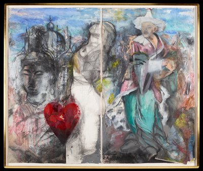 gestural representations of collaged elements including a Buddha on L with red heart in foreground and figure with white hat on R; two sheets framed together