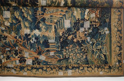 For the Study Collection: tapestry, woodland scene in blues, greens, cream