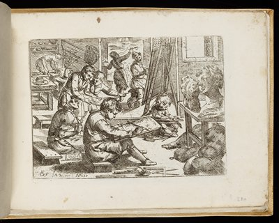 cream-colored leather cover; two pairs of green ties on outer edge; book of 43 engraved plates; artist's copy book with images of faces and facial features, feet, hands, arms and torsos