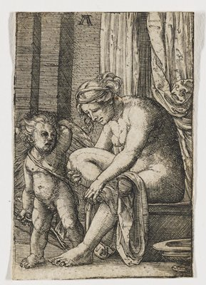 nude female figure with cloth draped over PL leg; standing cherub with bow in hand at R; curtains in background