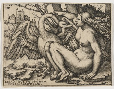 seated female nude, with legs tucked up, reaching PR arm up to stroke the neck of a large swan to her L; portion of a tree in background, and castle ULQ background