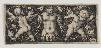 armor stylized in the form of a nude torso at center; cherubs holding vine flank both sides, one facing out and the other in