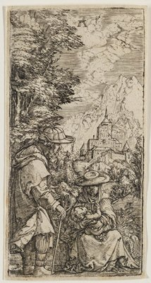 female figure with hat and scarf sitting, cradling an infant; male figure at LL watches; trees framing scene at L; mountain with castle in background