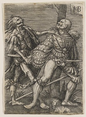 male figure swooning against a tree, looking dramatically to his L at a grotesque, decaying figure with skull-like face, and long greasy hair who pulls at his arm; hour glass at figure's feet