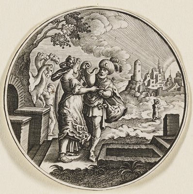 female figure at L holding a large water pitcher, facing a male figure who is reaching for her opposite hand; camels and another man in background at L; wells by their feet; a town with a woman walking back from path at R