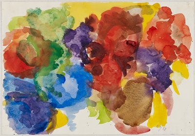abstract watercolor in bright hues; red/purple UR; green/red UL; blue/purple LL; brown/yellow LR