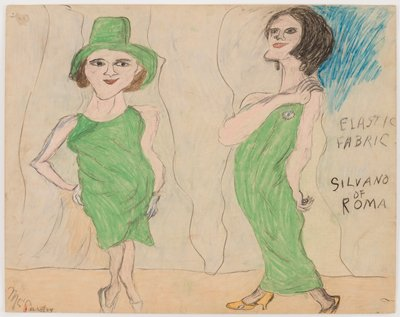 """primitive style; two standing women wearing green dresses--woman at left wears knee-length dress and green hat, woman at right wearing long gown; blue in URC; text at right edge: """"ELASTIC / FABRIC / BY / SILVANO / OF / ROMA"""""""