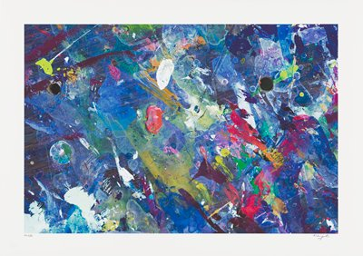 abstract image; multicolored pigments--red, white, yellow, pink, and green blobs overlap blue and brown streaked background