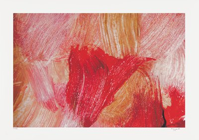 abstract image; red, orange and pink pigments in large brushstrokes running vertically across surface