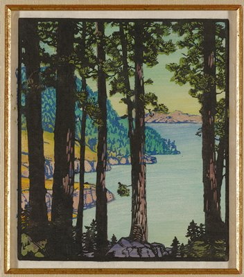landscape image of wooded shoreline; six silhouettes of trees dispersed across foreground; shoreline edged with rocks extends along left portion of background; large tree covered hill extends upwards behind shore; body of water along lower right quadrant; strip of land in upper right quadrant along horizon; pale green and yellow gradated sky