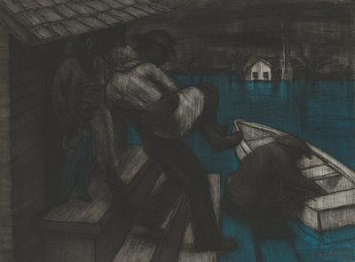 shadowy figures; man crouching beside boat, LRC; another man carrying a person down steps at center; woman with boy in overalls standing in doorway at left at top of steps; white building in background, URC; blue flood waters at right