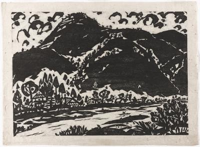 mountains; village in middle ground; boater at bottom center