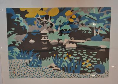 black garden pond with green spots (water lily leaves); blocks of color