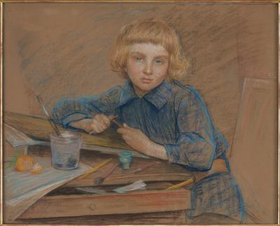 boy with blonde bobbed hair wearing a blue shirt, seated at a worktable with brushes, glass, and fruit