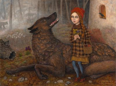 red-headed girl wearing a red stocking hat, black and yellow buffalo checkered coat, and blue tights at right, holding flowers in hands and basket of books and paint brushes on arm; large brown and black wolf lies on ground around girl; girl and wolf are face to face, with wolf's mouth slightly open; gray and brown misty forest in background, with silhouettes of more wolves; tan building on far right with black bird sitting on open window; tree trunk, rocks, fossils, and other forest debris on ground in foreground