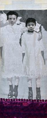 black and white image of two young Black girls in white dresses; the taller girl has her arm around the shorter girl; dimensional flower below their feet in pink and purple; rod pocket on verso for hanging