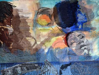 collage of three faces on a blue ground with smaller images along the bottom of a gun, a chalk outline of a body, and a car