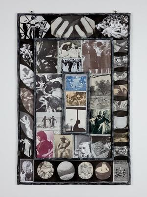 collage of photographs in black and white, sepia and white, red and white, and blue and white; three concentric rectangular areas of raised metal; images include surgical instruments, doctor and nurse with a baby, two nude children and girl in a dress holding hands, hands and fingers, hands sculpting a bust, dancers, group of seated people with topless women, hand in a brace, two women playing bongo drums