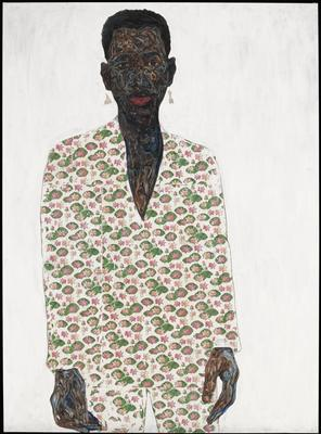3/4 length portrait of a Black figure wearing a white suit with pink water lillies on it; white ground