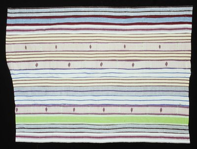 15 panels, one lime green with white at sides; three red and white stripes with thin banding throughout; metalic looking gold and silver thread used throughout