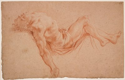 recto: dead Christ's body in zigzag shape, with head bent back, legs bent at hips and knees, seen from PR; curly hair; verso: loose rendering of a young man's head, upper arm and hand
