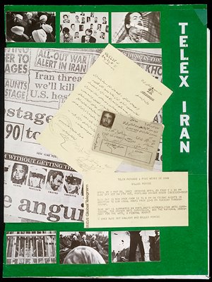 """one of 53 cards for a maquette; archival material for the production of """"Telex: Iran""""; (archival materials include three book maquettes--one of which has 53 cards with mounted photostats--; seven preliminary versions of the cover; one back cover; and seven maquette material pieces)"""