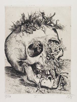 skull with tufts of hair and moustache; worms crawling through eye sockets, nostrils, mouth and hair