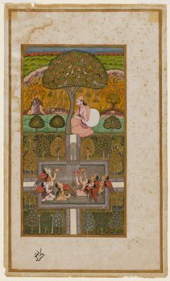 Illustration from the 'Gulshan-i 'Ishq (Rose Garden of Love). A man holds a large bag of clothes seated under a tree, upper center, seven fairies playing in a pool with fountain are gesturing to him, figures surround on four sides by a garden