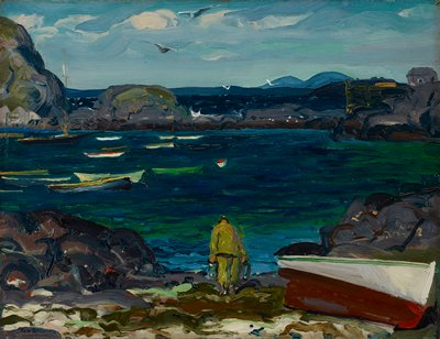 Landscape. View of land-locked harbor in greenish-blue, with boats at anchor and man in oilskins taking up lobster pots.
