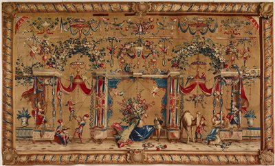 tapestry; warp undyed wool, 7½-8 ends per cm., weft dyed wool and silk, 24-28 ends per cm.; woven at the Royal Beauvais Manufactory; from the series Grotesques; lining is sewn to the tapestry