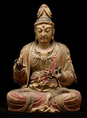 seated Buddha; gilt and red and blue paint