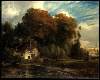 white cottage with slanted roof at L; trees behind - tallest with turning leaves; woman on path with a pony; figures at R by haystack